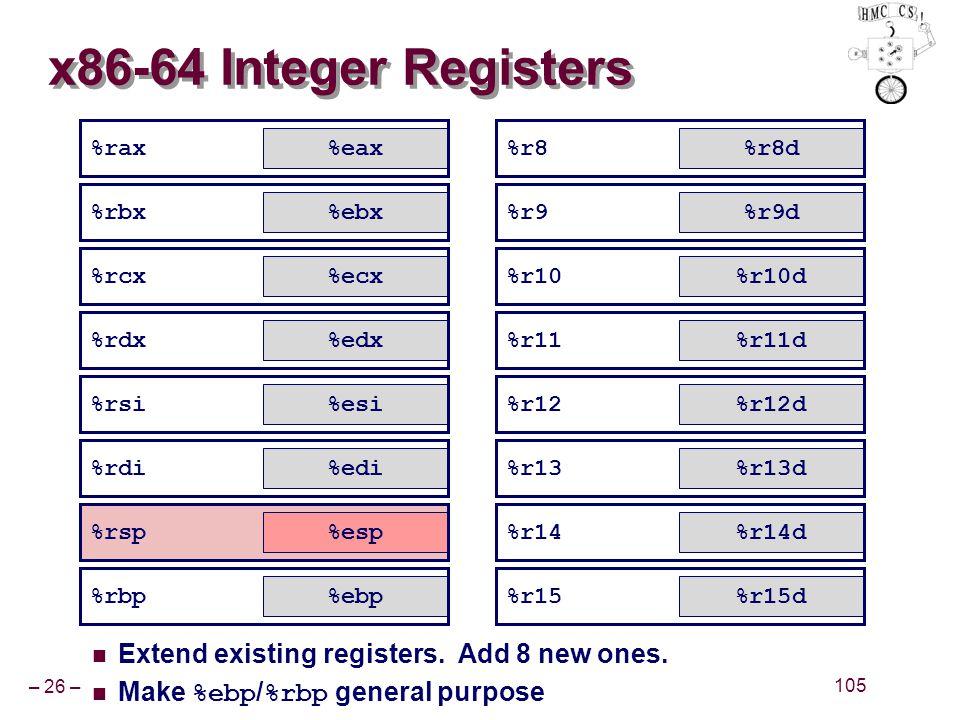 – 26 – 105 %rax %rbx %rcx %rdx %rsi %rdi %rsp %rbp x86-64 Integer Registers Extend existing registers. Add 8 new ones. Make %ebp / %rbp general purpos