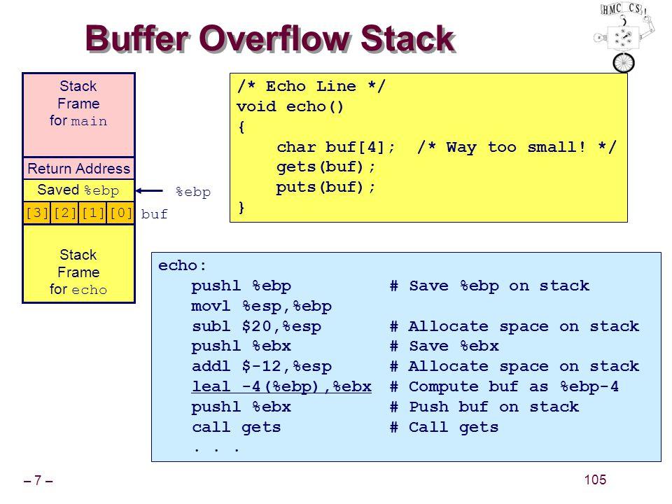 – 7 – 105 Buffer Overflow Stack echo: pushl %ebp# Save %ebp on stack movl %esp,%ebp subl $20,%esp# Allocate space on stack pushl %ebx# Save %ebx addl