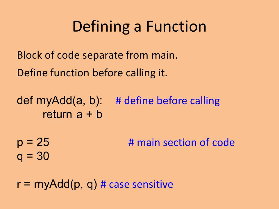 Defining a Function Block of code separate from main.