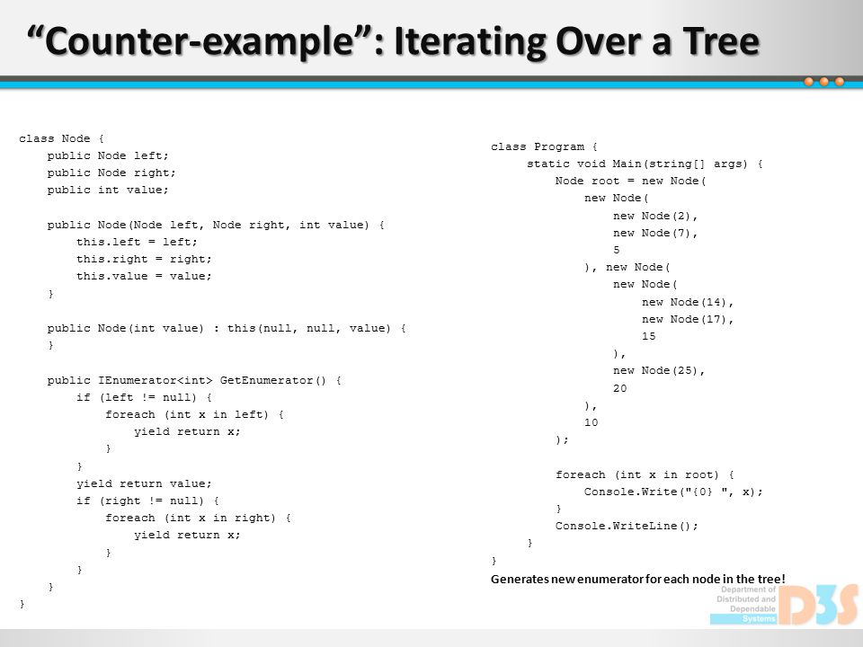 """""""Counter-example"""": Iterating Over a Tree class Node { public Node left; public Node right; public int value; public Node(Node left, Node right, int va"""