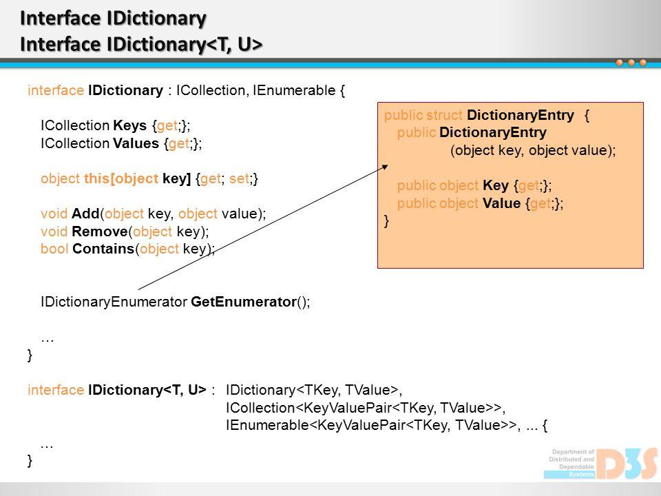Interface IDictionary Interface IDictionary Interface IDictionary Interface IDictionary interface IDictionary : ICollection, IEnumerable { ICollection