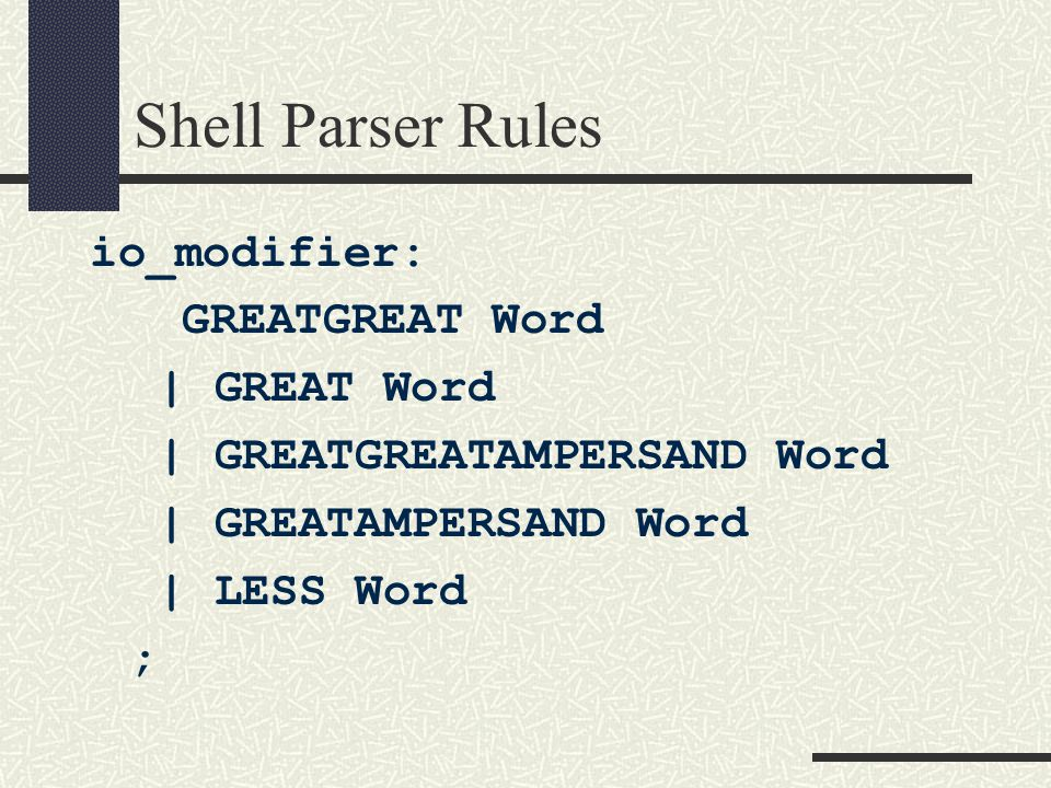 Shell Parser Rules io_modifier: GREATGREAT Word | GREAT Word | GREATGREATAMPERSAND Word | GREATAMPERSAND Word | LESS Word ;