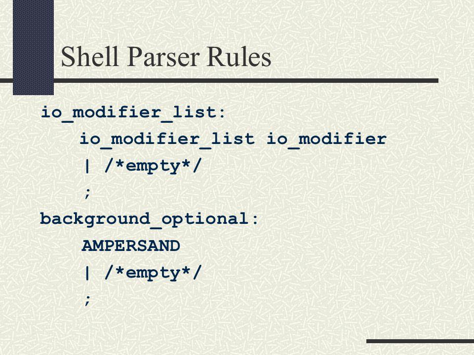 Shell Parser Rules io_modifier_list: io_modifier_list io_modifier | /*empty*/ ; background_optional: AMPERSAND | /*empty*/ ;