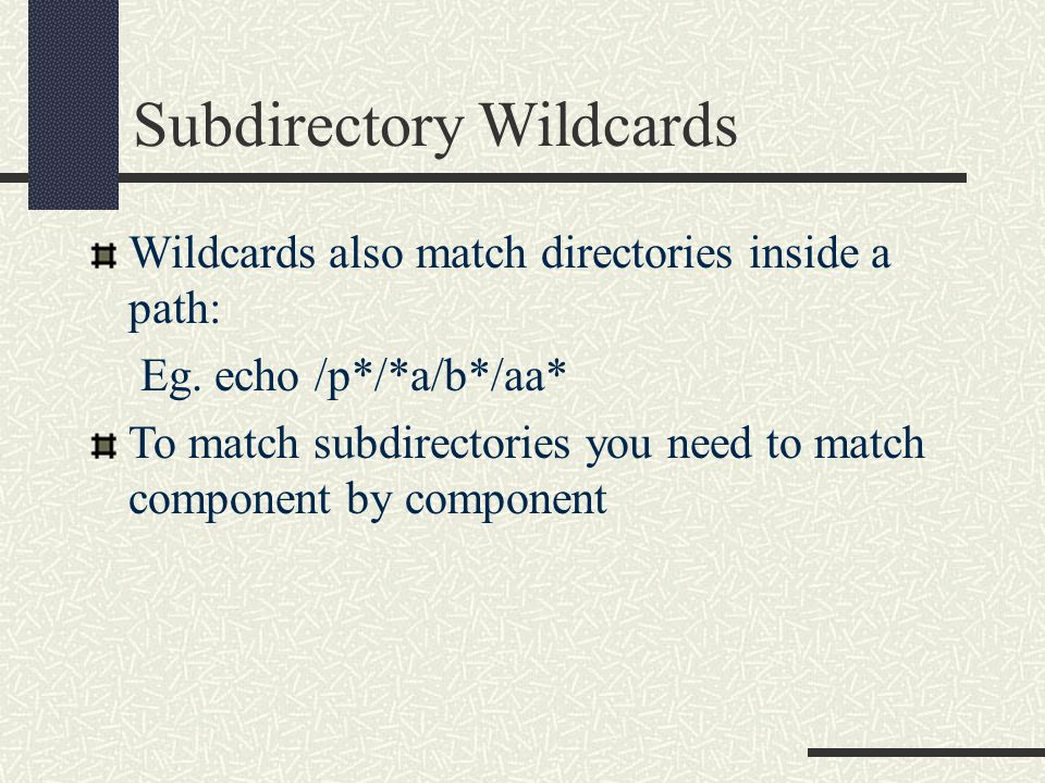 Subdirectory Wildcards Wildcards also match directories inside a path: Eg.