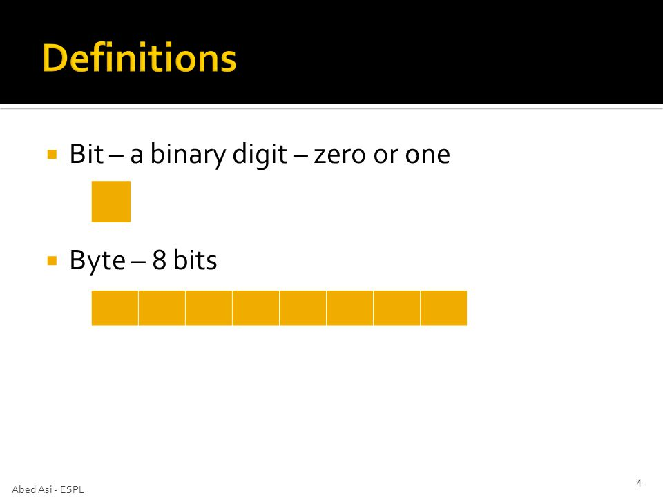  Bit – a binary digit – zero or one  Byte – 8 bits Abed Asi - ESPL 4