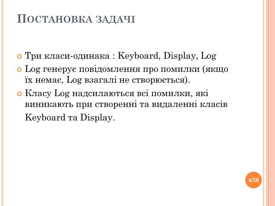 П ОСТАНОВКА ЗАДАЧІ Три класи-одинака : Keyboard, Display, Log Log генерує повідомлення про помилки (якщо їх немає, Log взагалі не створюється).