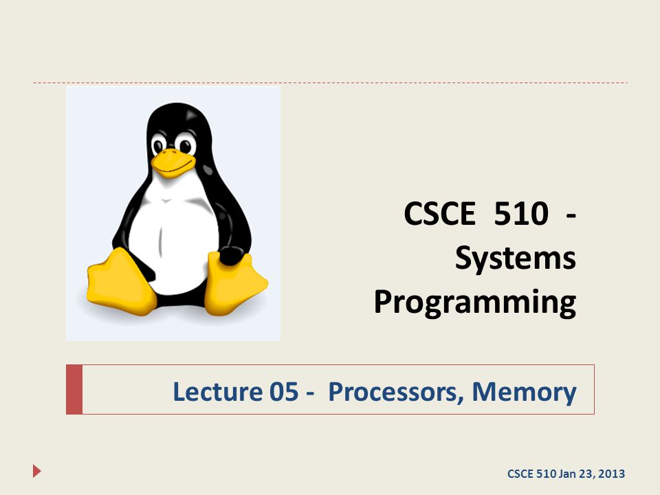 CSCE 510 - Systems Programming Lecture 05 - Processors, Memory CSCE 510 Jan 23, 2013
