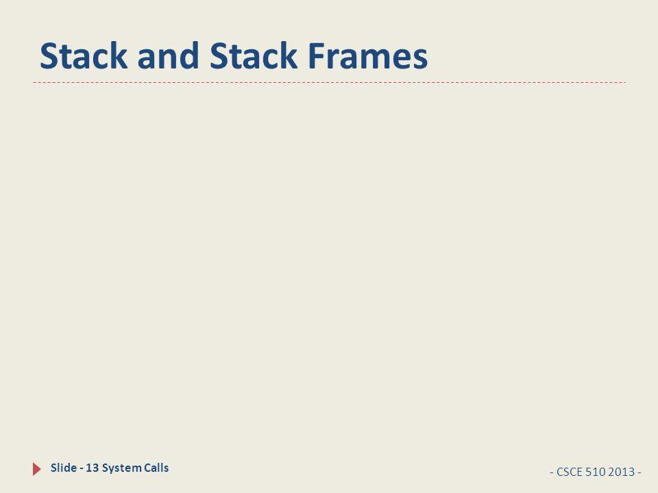 Stack and Stack Frames - CSCE 510 2013 - Slide - 13 System Calls