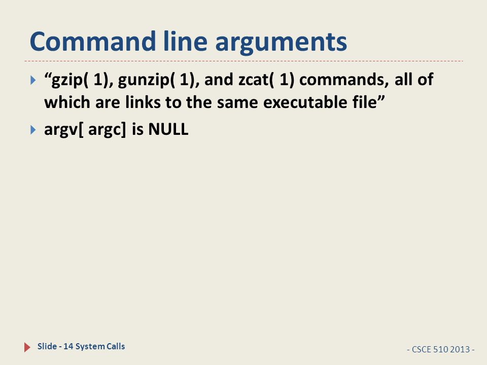 Command line arguments - CSCE 510 2013 - Slide - 14 System Calls  gzip( 1), gunzip( 1), and zcat( 1) commands, all of which are links to the same executable file  argv[ argc] is NULL