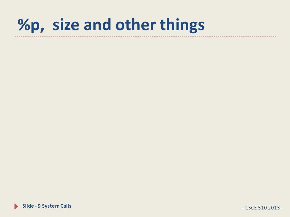 %p, size and other things - CSCE 510 2013 - Slide - 9 System Calls
