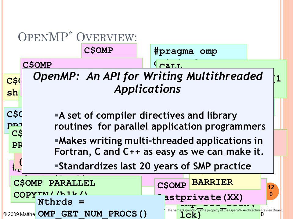 © 2009 Matthew J. Sottile, Timothy G. Mattson, and Craig E Rasmussen 120 O PEN MP * O VERVIEW : omp_set_lock( lck) #pragma omp parallel for private(A,