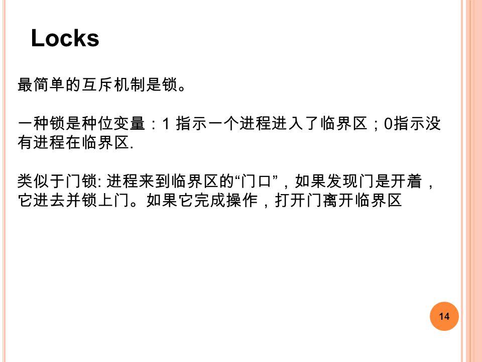 """14 最简单的互斥机制是锁。 一种锁是种位变量: 1 指示一个进程进入了临界区; 0 指示没 有进程在临界区. 类似于门锁 : 进程来到临界区的 """" 门口 """" ,如果发现门是开着, 它进去并锁上门。如果它完成操作,打开门离开临界区 Locks"""