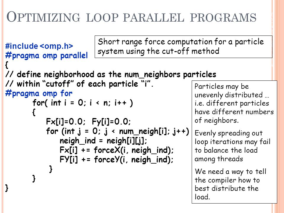 © 2009 Matthew J. Sottile, Timothy G. Mattson, and Craig E Rasmussen 144 O PTIMIZING LOOP PARALLEL PROGRAMS #include #pragma omp parallel { // define