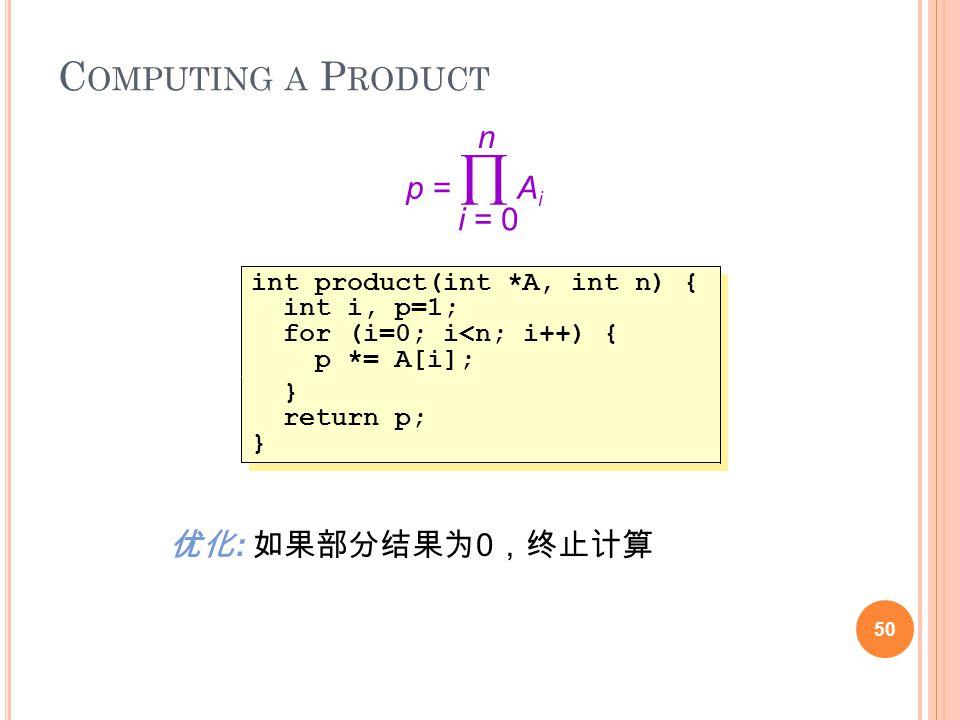 C OMPUTING A P RODUCT 50 p =  A i i = 0 n int product(int *A, int n) { int i, p=1; for (i=0; i<n; i++) { p *= A[i]; int product(int *A, int n) { int