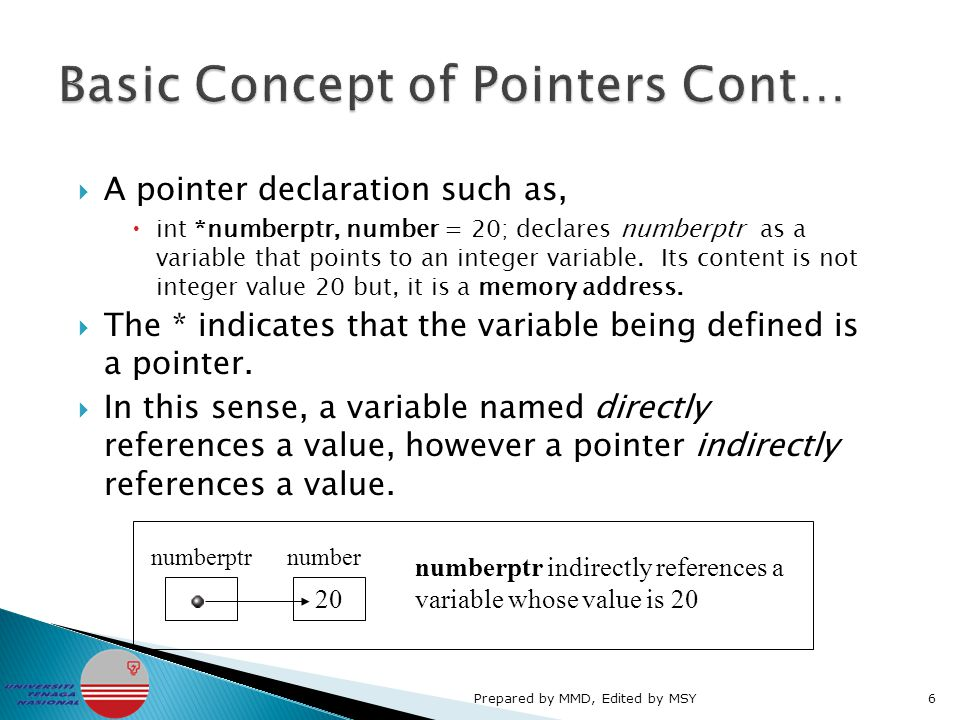  A pointer declaration such as,  int *numberptr, number = 20; declares numberptr as a variable that points to an integer variable.