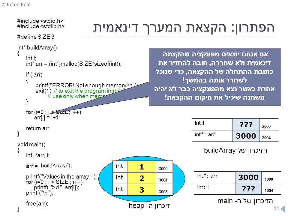 © Keren Kalif 14 הפתרון: הקצאת המערך דינאמית #include #define SIZE 3 int* buildArray() { int i; int* arr = (int*)malloc(SIZE*sizeof(int)); if (!arr) {