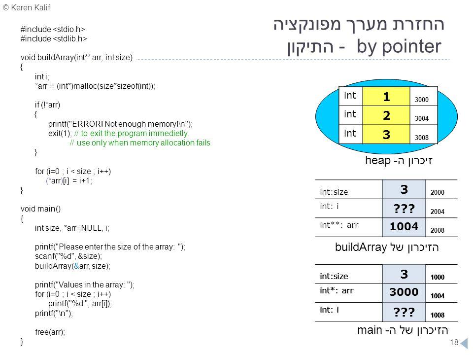 © Keren Kalif 18 החזרת מערך מפונקציה by pointer - התיקון #include void buildArray(int** arr, int size) } int i; *arr = (int*)malloc(size*sizeof(int));