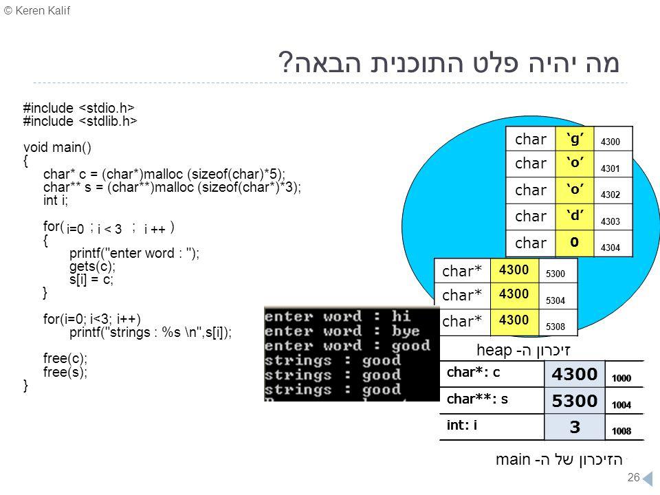 © Keren Kalif 26 מה יהיה פלט התוכנית הבאה? #include void main() { char* c = (char*)malloc (sizeof(char)*5); char** s = (char**)malloc (sizeof(char*)*3