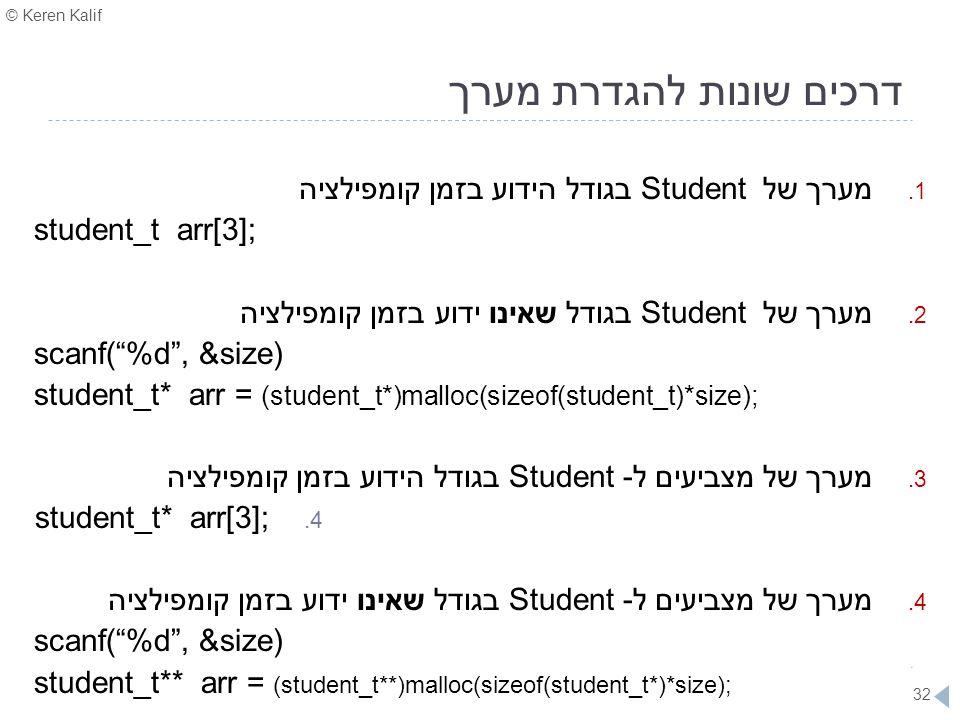 © Keren Kalif 32 דרכים שונות להגדרת מערך 1. מערך של Student בגודל הידוע בזמן קומפילציה student_t arr[3]; 2. מערך של Student בגודל שאינו ידוע בזמן קומפ