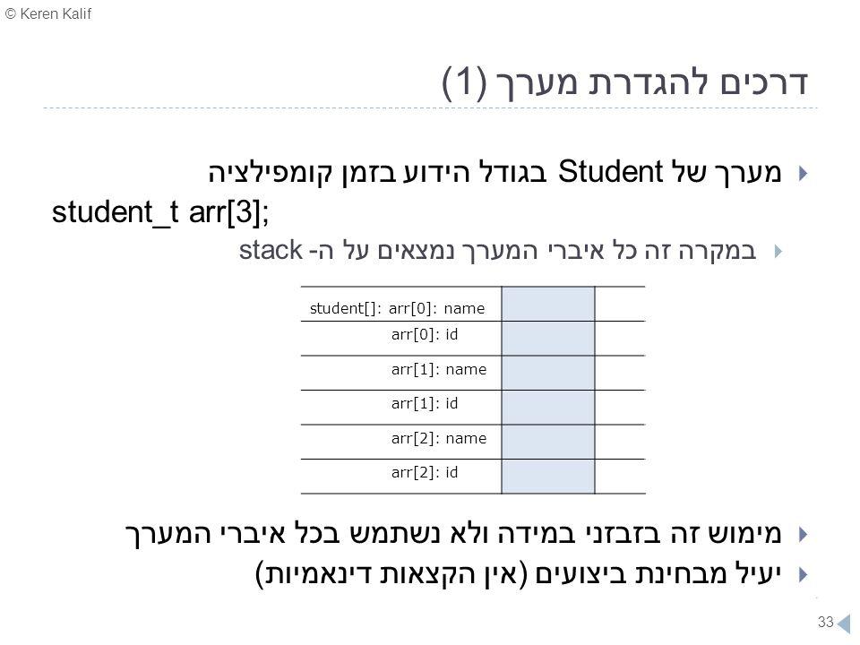 © Keren Kalif 33 דרכים להגדרת מערך (1)  מערך של Student בגודל הידוע בזמן קומפילציה student_t arr[3];  במקרה זה כל איברי המערך נמצאים על ה- stack  מ
