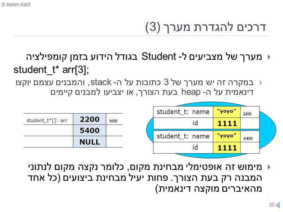 © Keren Kalif 35 דרכים להגדרת מערך (3)  מערך של מצביעים ל- Student בגודל הידוע בזמן קומפילציה student_t* arr[3];  במקרה זה יש מערך של 3 כתובות על ה-