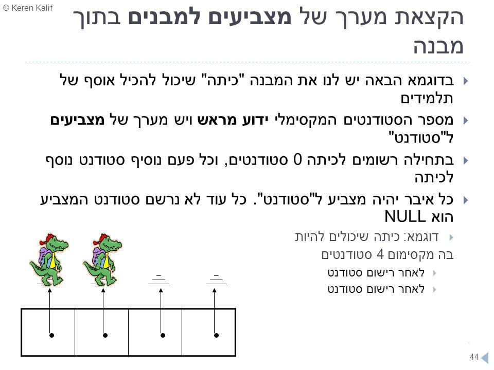 © Keren Kalif 44 הקצאת מערך של מצביעים למבנים בתוך מבנה  בדוגמא הבאה יש לנו את המבנה