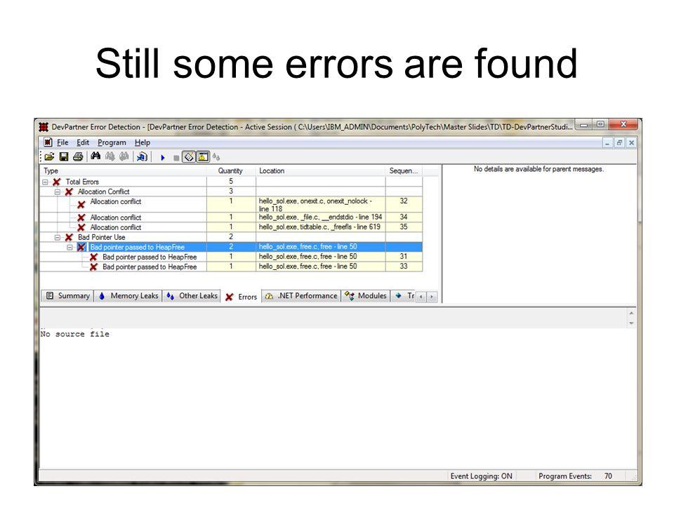 Still some errors are found