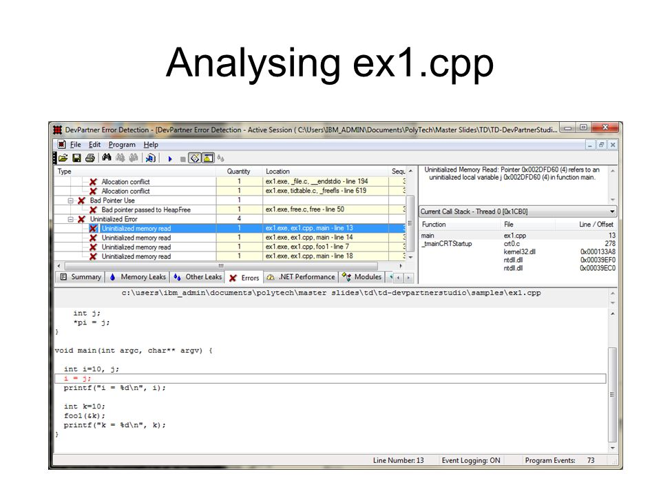Analysing ex1.cpp