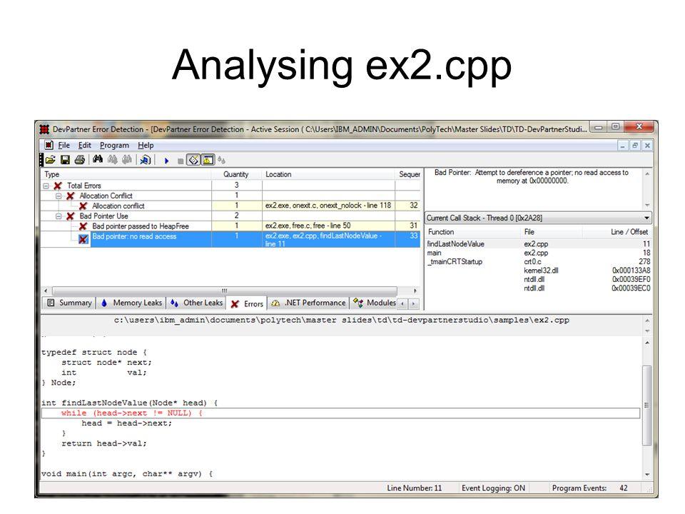 Analysing ex2.cpp