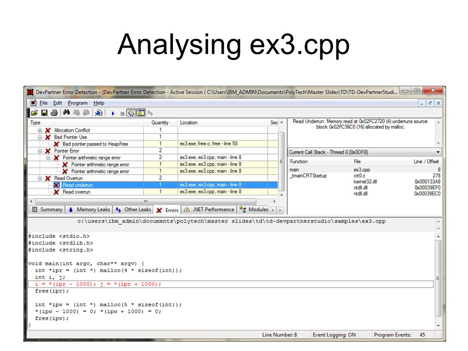 Analysing ex3.cpp