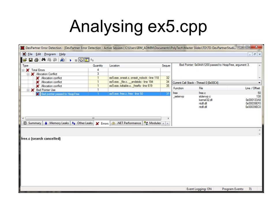 Analysing ex5.cpp