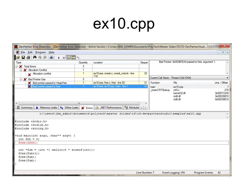 ex10.cpp void main(int argc, char** argv) { int fnh = 0; free(&fnh); int *fum = (int *) malloc(4 * sizeof(int)); free(fum+1); free(fum); }