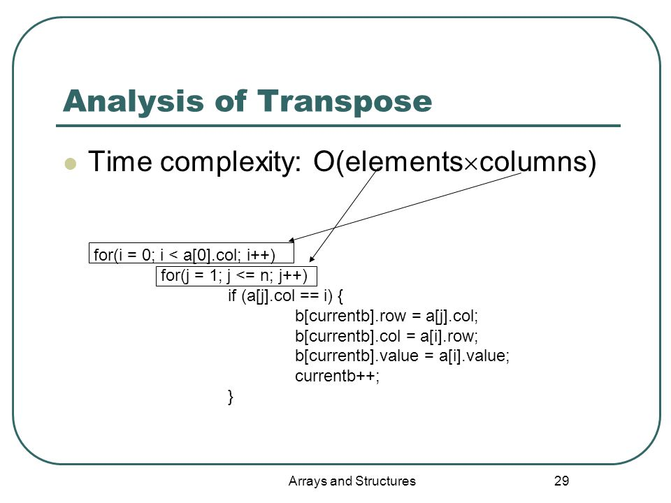 Arrays and Structures 29 Analysis of Transpose Time complexity: O(elements  columns) for(i = 0; i < a[0].col; i++) for(j = 1; j <= n; j++) if (a[j].col == i) { b[currentb].row = a[j].col; b[currentb].col = a[i].row; b[currentb].value = a[i].value; currentb++; }