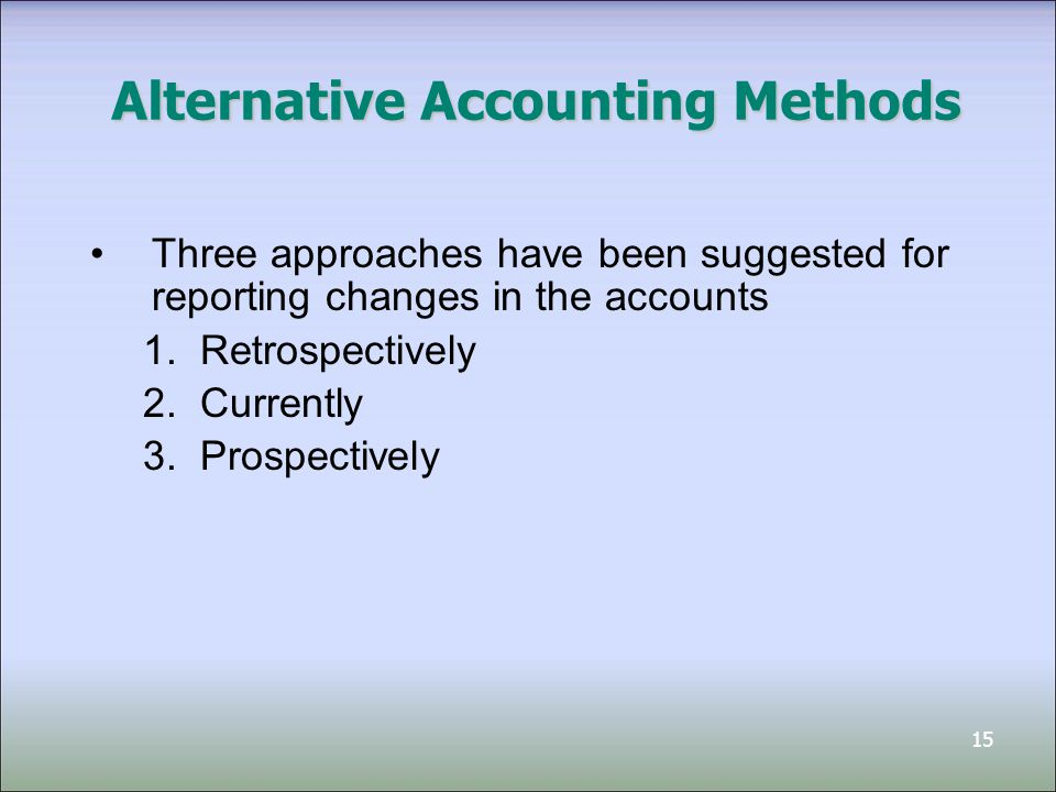 15 Alternative Accounting Methods Three approaches have been suggested for reporting changes in the accounts 1.Retrospectively 2.Currently 3.Prospecti