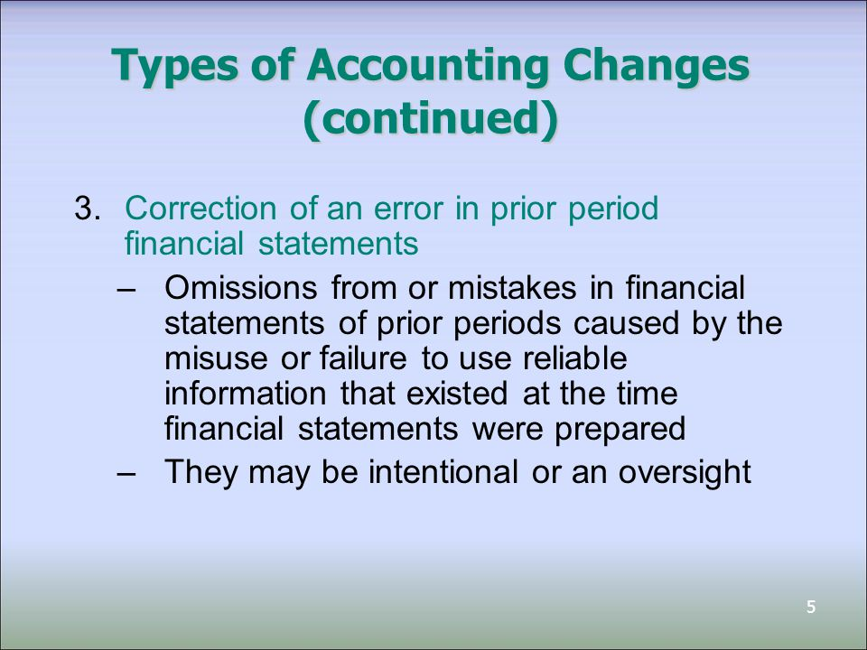 5 Types of Accounting Changes (continued) 3.Correction of an error in prior period financial statements –Omissions from or mistakes in financial statements of prior periods caused by the misuse or failure to use reliable information that existed at the time financial statements were prepared –They may be intentional or an oversight