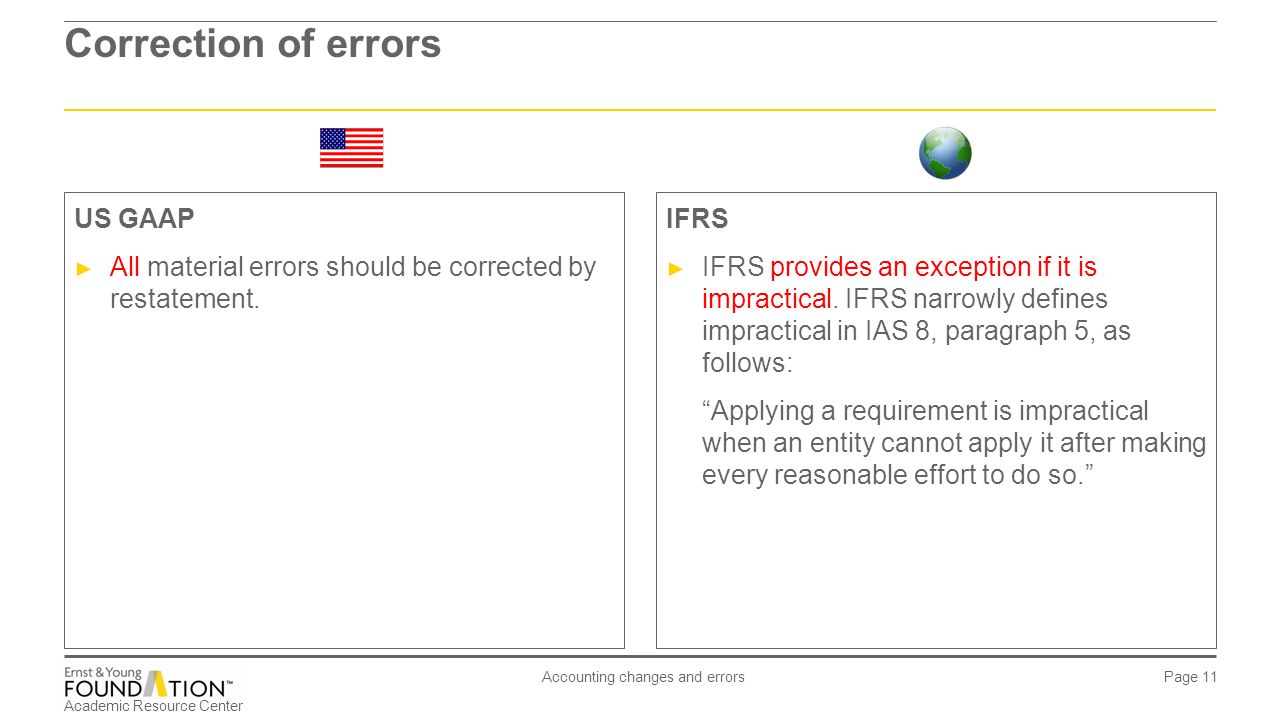 Academic Resource Center Accounting changes and errors Page 11 Correction of errors IFRS ► IFRS provides an exception if it is impractical. IFRS narro