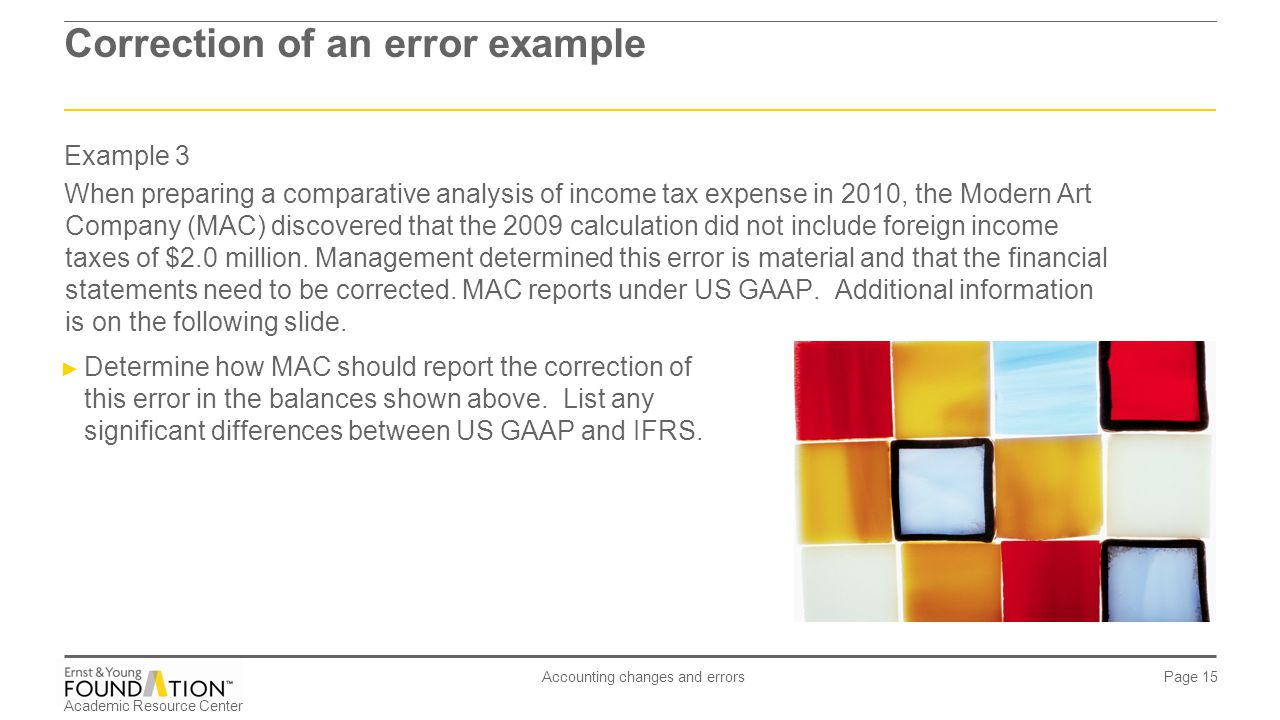 Academic Resource Center Accounting changes and errors Page 15 Example 3 When preparing a comparative analysis of income tax expense in 2010, the Mode