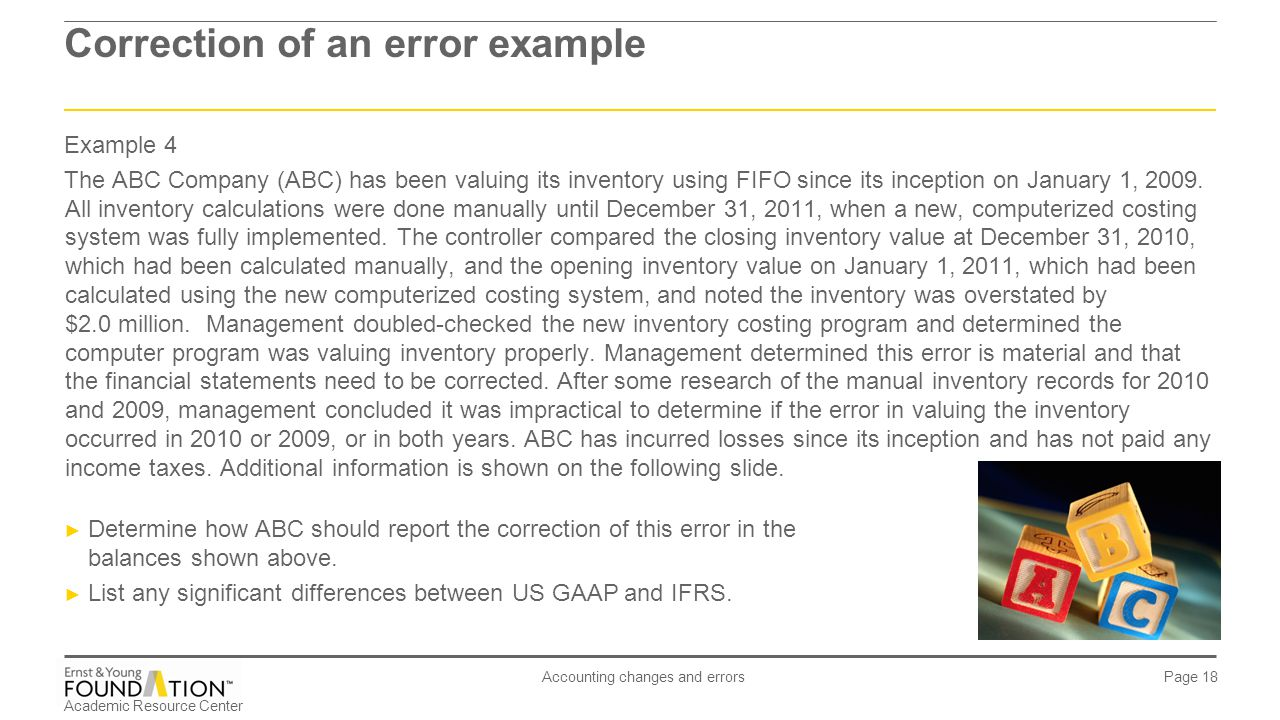 Academic Resource Center Accounting changes and errors Page 18 Example 4 The ABC Company (ABC) has been valuing its inventory using FIFO since its inc