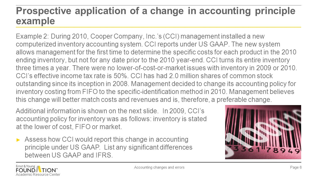 Academic Resource Center Accounting changes and errors Page 6 Example 2: During 2010, Cooper Company, Inc.'s (CCI) management installed a new computer