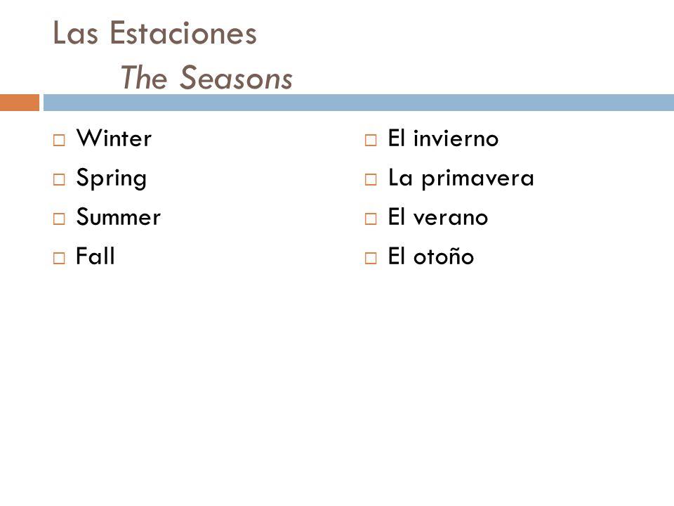 Las Estaciones The Seasons  Winter  Spring  Summer  Fall  El invierno  La primavera  El verano  El otoño
