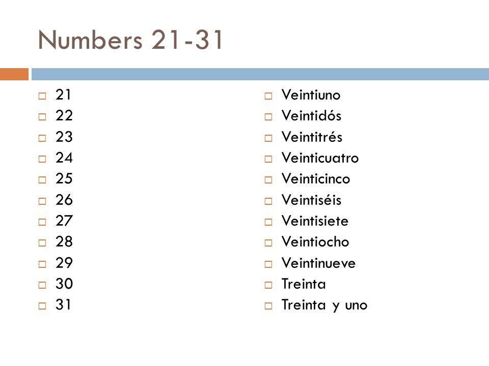 Numbers 21-31  21  22  23  24  25  26  27  28  29  30  31  Veintiuno  Veintidós  Veintitrés  Veinticuatro  Veinticinco  Veintiséis  Veintisiete  Veintiocho  Veintinueve  Treinta  Treinta y uno