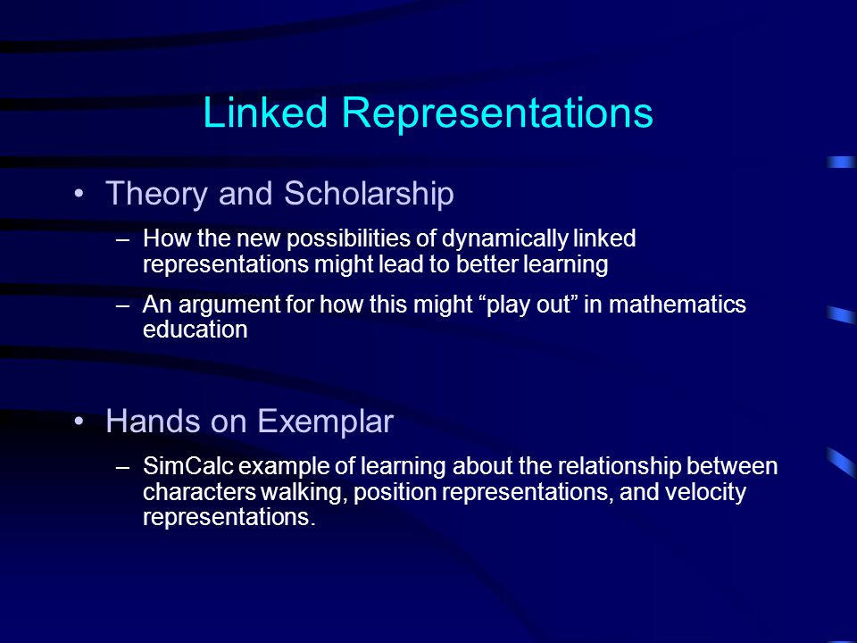 Linked Representations Theory and Scholarship –How the new possibilities of dynamically linked representations might lead to better learning –An argument for how this might play out in mathematics education Hands on Exemplar –SimCalc example of learning about the relationship between characters walking, position representations, and velocity representations.