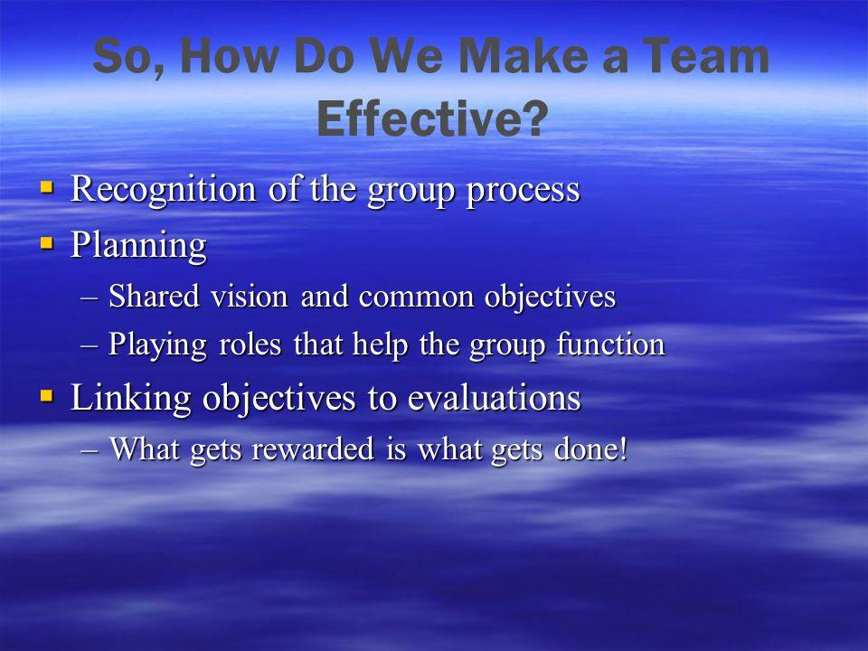 So, How Do We Make a Team Effective.