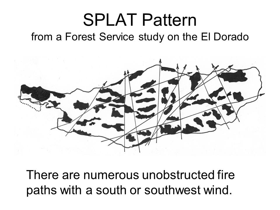 SPLAT Pattern from a Forest Service study on the El Dorado There are numerous unobstructed fire paths with a south or southwest wind.