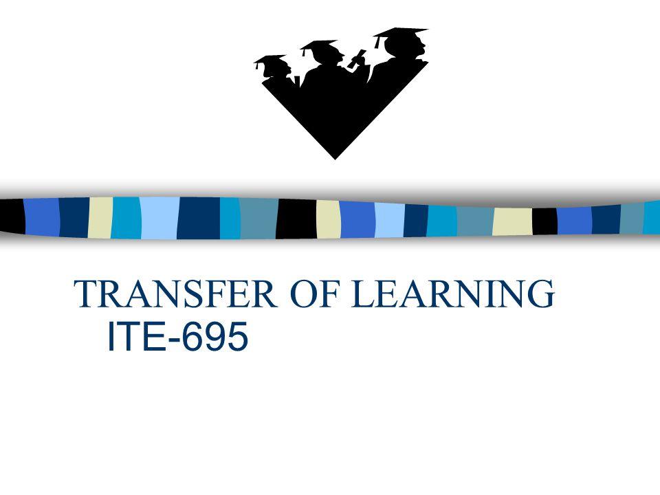 Transfer of Training Why Important n U.S.