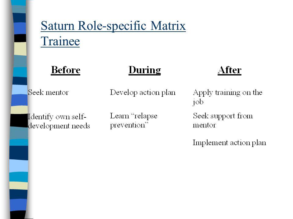 Saturn Role-specific Matrix Trainee