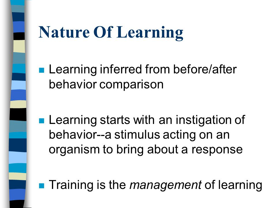 Learning Process Five varieties of outcomes –Intellectual skill –Cognitive strategy –Verbal Information –Motor skill –Attitude