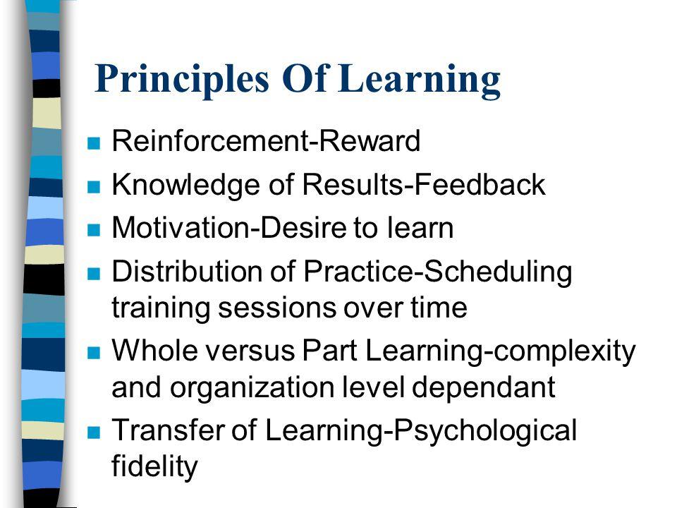 Principles Of Learning n Reinforcement-Reward n Knowledge of Results-Feedback n Motivation-Desire to learn n Distribution of Practice-Scheduling train