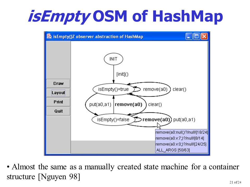 21 of 24 isEmpty OSM of HashMap Almost the same as a manually created state machine for a container structure [Nguyen 98]