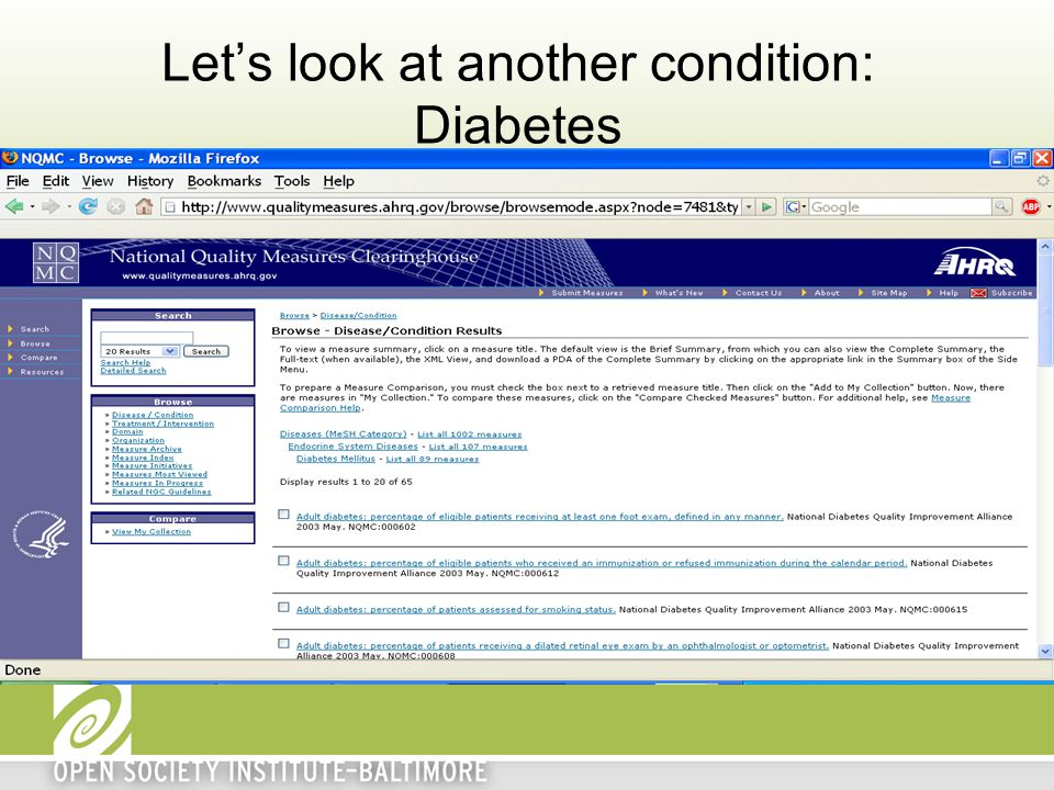 Let's look at another condition: Diabetes